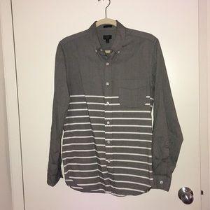J Crew white & gray stripe button down shirt
